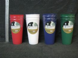 24 Units of PLASTIC THREE PIECE TUMBLER SET ASSORTED COLOR - Plastic Drinkware