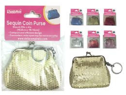 288 Units of Sequin Coin Purse Keychain - Coin Holders & Banks