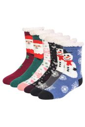 48 Units of COZY THERMAL CHRISTMAS PRINTED NON-SKID SOCKS SIZE 9-11 - Womens Crew Sock