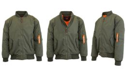 12 Units of Men's Heavyweight MA-1 Flight Bomber Jackets Olive Size Small - Men's Winter Jackets