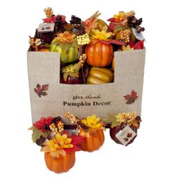 72 Units of Pumpkin W/fall Flower Decor - Home Decor