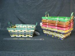 24 Units of BAMBOO BASKET RECTANGULAR WITH HANDLE ASSORTED COLORS - Baskets