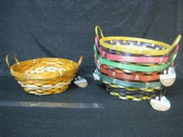 24 Units of BAMBOO BASKET ROUND WITH HANDLE ASSORTED COLORS - Baskets