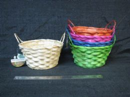 24 Units of BASKET WITH HANDLE ASSORTED COLORS - Baskets