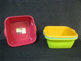 36 Units of PLASTIC BASIN RECTANGLE NEW MATERIAL ASSORTED COLOR - Buckets & Basins