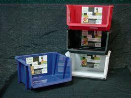 24 Units of Plastic Stackable Bin Assorted Color - Buckets & Basins