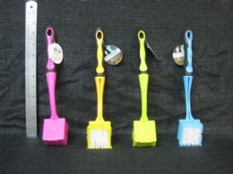 24 Units of Plastic Brush Square With Removable Handle Assorted Color - Cleaning Products