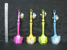 24 Units of PLASTIC BRUSH TRADITIONAL WITH REMOVABLE HANDLE ASSORTED COLOR - Cleaning Products