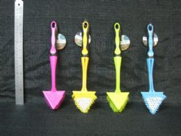 24 Units of Plastic Brush Triangle With Removable Handle Assorted Color - Cleaning Products