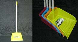 24 Units of Dustpan With Long Handle Assorted Colors - Dust Pans