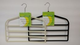 24 Units of Plastic 4 Tier Pant Hanger Black And Ivy - Hangers