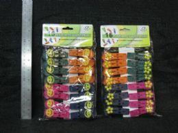 36 Units of Plastic Cloth Peg 16 Piece Flower Smile - Laundry Baskets & Hampers