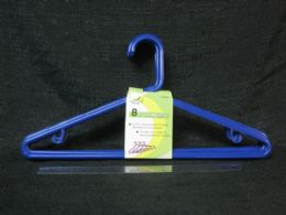 38 Units of PLASTIC HANGER 8 PIECE ROYAL BLUE - Hangers