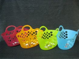 36 Units of PLASTIC BASKET WITH HANDLE OVAL ASSORTED COLOR - Baskets