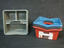36 Units of Plastic Carrier With Handle Square Assorted Color - Storage & Organization