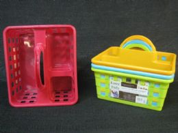 24 Units of Plastic Carrier With Handle Square Holes Assorted Color - Storage & Organization