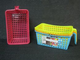 36 Units of Plastic Storage Basket With Handle Assorted Color - Storage & Organization
