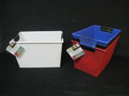 24 Units of Plastic Storage Box With 2 Side Handle Assorted Color - Storage & Organization