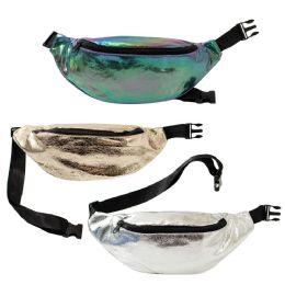 24 Units of Crack Design Large Bulk Fanny Packs Belt Bags In 3 Assorted Colors - Fanny Pack