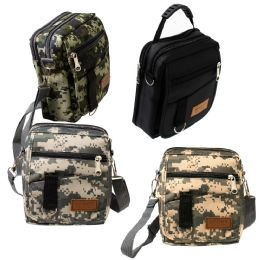 24 Units of 8 Inch Men's Crossbody Bags In 3 Camo Prints And Black Assorted - Shoulder Bags & Messenger Bags