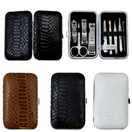 24 Units of 9 Piece Stainless Steel Manicure Set In 3 Assorted Snake Skin Colors - Manicure and Pedicure Items