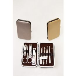 24 Units of 9 Piece Stainless Steel Bulk Manicure Set In 3 Assorted Metallic Colors - Manicure and Pedicure Items