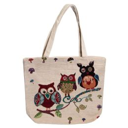 24 Units of Animal Tapestry Bulk Tote Bags In 3 Assorted Styles - Tote Bags & Slings