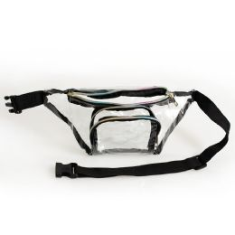 24 Units of PVC Clear Transparent Fanny Packs Belt Bags With Rainbow Zipper - Fanny Pack