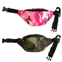 24 Units of Kids Camo Bulk Fanny Packs Belt Bags In 2 Colors - Fanny Pack