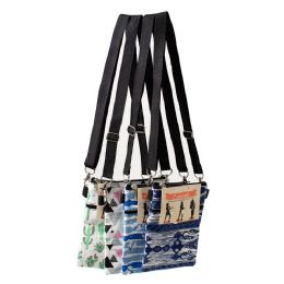 24 Units of 7 Inch Crossbody Bags 3 In 1 With 2 Zippered Pockets In 4 Assorted Prints - Shoulder Bags & Messenger Bags