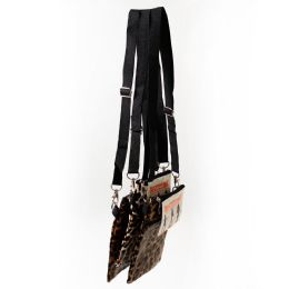 24 Units of 7 Inch Crossbody Bags 3 In 1 With 2 Zippered Pockets In 3 Assorted Leopard Prints - Shoulder Bags & Messenger Bags