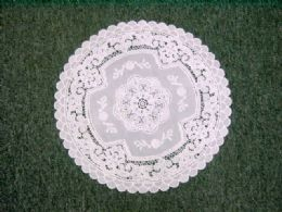 600 Units of CROCHET ROUND PLACEMAT BEIGE - Placemats