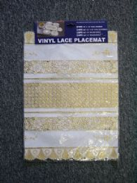 24 Units of VINYL LACE PLACEMAT WHITE GOLD - Placemats