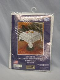 72 Units of Vinyl Lace Crochet Square Tablecloth - Table Cloth