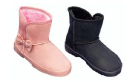 24 Units of Women's Winter Boots With Fur Lining And Bow - Women's Boots