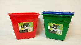 24 Units of Plastic Trash Can Rectangle Assorted Colors - Waste Basket