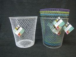 24 Units of WIRE TRASH CAN ROUND ASSORTED COLORS - Waste Basket