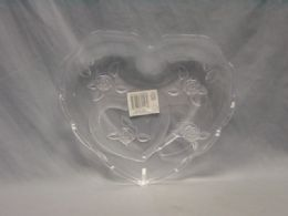48 Units of PLASTIC TRAY CLEAR HEART DESIGN - Serving Trays