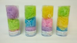 24 Units of 3 Piece Shower Balls In A Tube - Loofahs & Scrubbers