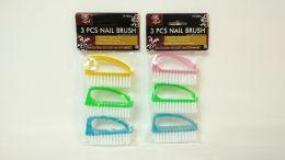 144 Units of 3 PIECE PLASTIC NAIL BRUSH - Manicure and Pedicure Items