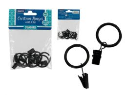 144 Units of 8pc Metal Black Curtain Rings - Home Decor