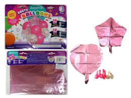 144 Units of 8 Pc Party Balloon SeT- Pink Only - Balloons & Balloon Holder
