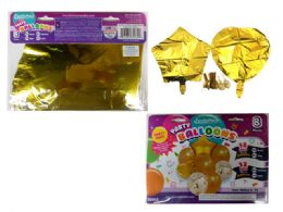 144 Units of 8 Pc Party Balloon Set- Gold Only - Balloons & Balloon Holder
