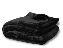 12 Units of Oversized Mink Touch Blankets- Black Color - Blankets & Bedding
