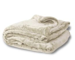 12 Units of Oversized Mink Touch Blankets- Cream Color - Blankets & Bedding