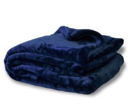12 Units of Oversized Mink Touch Blankets- Navy Color - Blankets & Bedding
