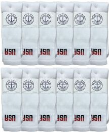 12 Units of Yacht & Smith Men's Cotton 28 Inch Tube Socks, Referee Style, Size 10-13 White With Usa Print - Mens Tube Sock