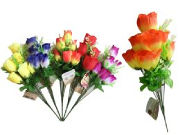 144 Units of 9 Head Rose Bouquet - Artificial Flowers