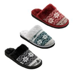 48 Units of Women's Winter Snow Flake Printed Slippers - Women's Slippers