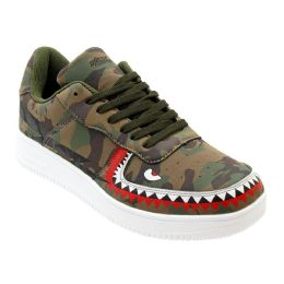 12 Units of Men's Camo Shark Casual Sneakers - Men's Sneakers